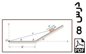 محاسبه آهنگ تغییر فاصله r ذره متحرک روی سطح شیبدار نسبت به یک نقطه-PDF