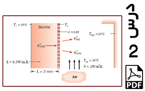 محاسبه دمای سطح پوست بدن انسان و نرخ انتقال حرارت از پوست به محیط اطراف (یک بعدی)-PDF