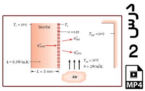 محاسبه دمای سطح پوست بدن انسان و نرخ انتقال حرارت از پوست به محیط اطراف (یک بعدی)-MP4