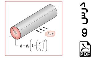 رسم توزیع دما در راستای شعاعی یک میله استوانه ای با تولید حرارت داخلی غیر یکنواخت-PDF