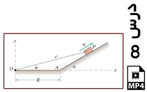 محاسبه آهنگ تغییر فاصله r ذره متحرک روی سطح شیبدار نسبت به یک نقطه-MP4