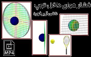 برخورد توپ به تور راکت تنیس و محاسبه فشار داخلی توپ و کشش بوجود آمده در تور