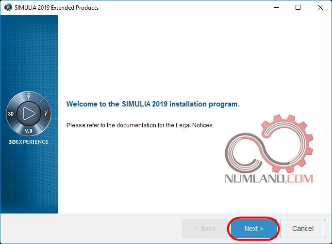 اولین پنجره نصب نرم افزار SIMULIA 2019