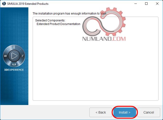 فشردن دکمه Install برای نصب Abaqus Documentation