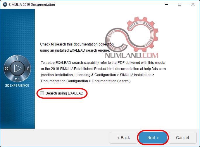 قدم 18 نصب آباکوس 2019 - غیر فعال کردن گزینه Search using EXALEAD