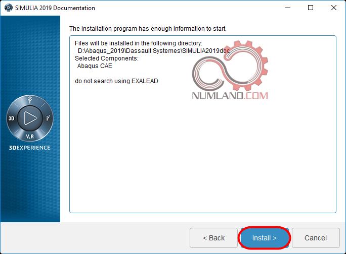 قدم 19 نصب آباکوس 2019 - فشردن دکمه Install برای نصب Abaqus Documentation مربوط به Abaqus CAE