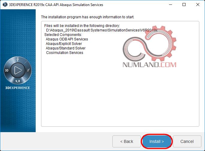 فشردن دکمه Install برای نصب Abaqus Simulation Services CAAAPI