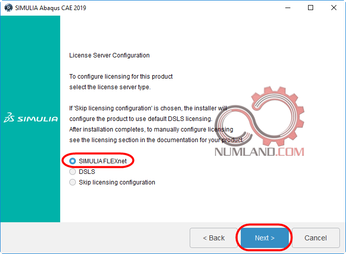 انتخاب گزینه نصب SIMULIAFLEXnet