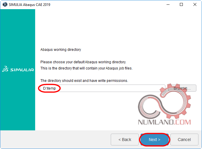 قدم 44 نصب آباکوس 2019 - انتخاب شاخه Abaqus working directory