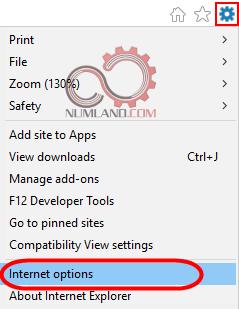اجرای Internet options