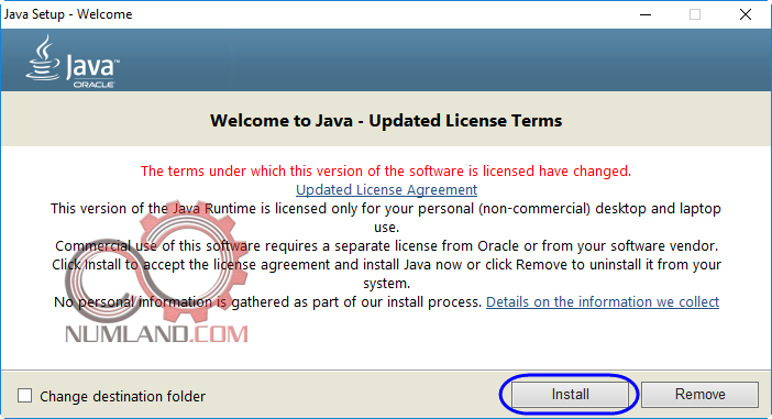 فشردن دکمه Install برای نصب Java