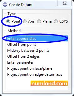 پنجره Create Datum و گزینه های انتخاب شده در آن