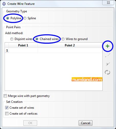 پنجره Create Wire Feature و گزینه های انتخاب شده