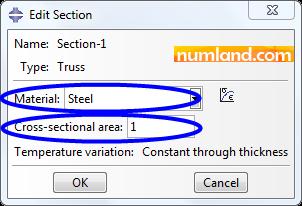 مشخص کردن نام ماده و سطح مقطع اعضای خرپا