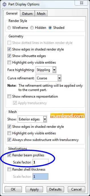 انتخاب گزینه مورد نظر برای نمایش سطح مقطع اعضای خرپا
