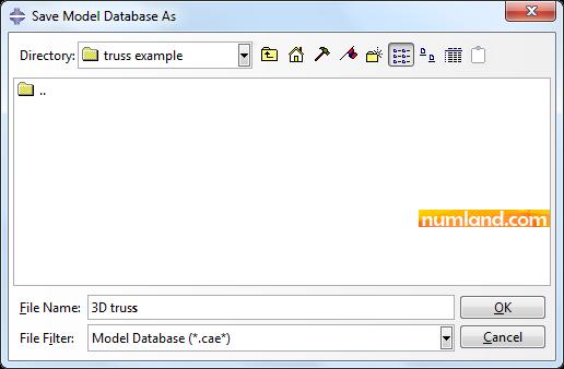 ذخیره مدل با نام 3D truss در مسیر مورد نظر