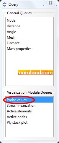 انتخاب گزینه Probe values در پنجره Query