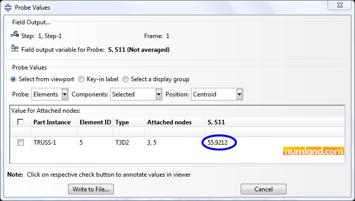 مقدار تنش در عضو AD در پنجره Probe Values