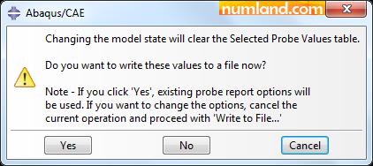 پیغام هشدار مبنی بر پاک شدن اطلاعات موجود در پنجره Probe Values