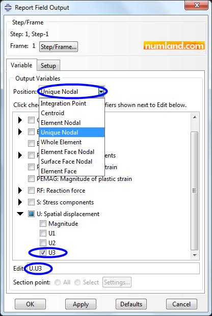 انتخاب گزینه U3 بعنوان خروجی در گره ها