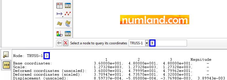 نمایش شماره گره مربوط به نقطه A