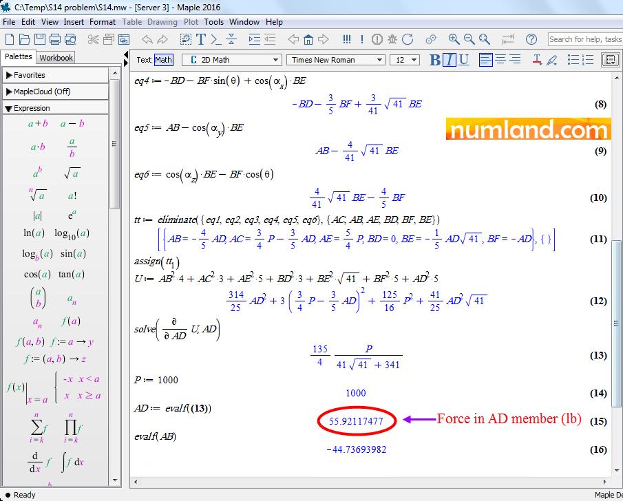 معادلات تعادل و معادله حاصل از روش کاستیگلیانو