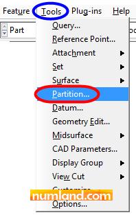 دستور ایجاد Partition برای جداسازی ناحیه مربوط به چسب