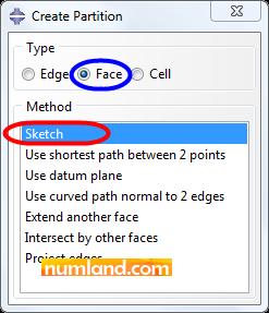 انتخاب گزینه های پنجره Create Partition