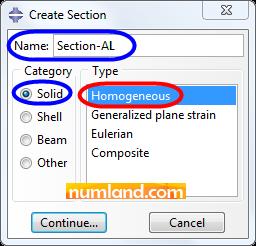 گزینه های انتخاب شده برای تعریف Section آلومینیوم