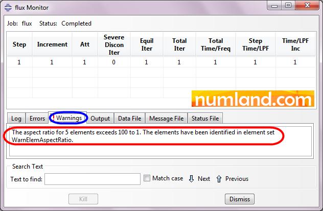 پیام هشدار مسئله در برگه Warnings از پنجره Monitor