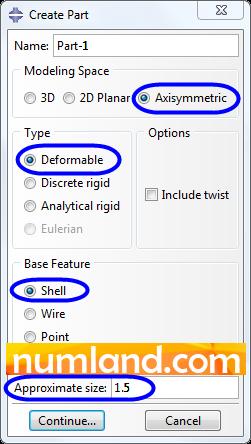 پنجره Create Part و گزینه های انتخاب شده در آن
