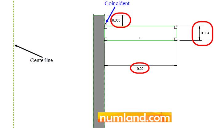 اندازه گذاری هندسه یک عدد پره روی استوانه سیلندر بالایی