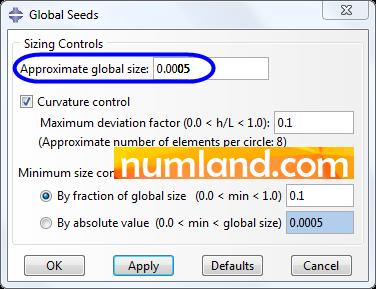 پنجره Global Seeds و اندازه دانه بندی مدل