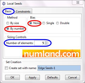 تعریف دانه بندی 5 عددی روی طول استوانه بدون پره
