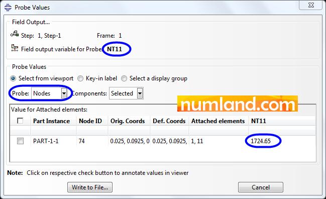 انتخاب گزینه Nodes در پنجره Probe Values و ثبت نتایج در آن
