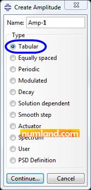 انتخاب گزینه Tabular در پنجره Create Amplitude