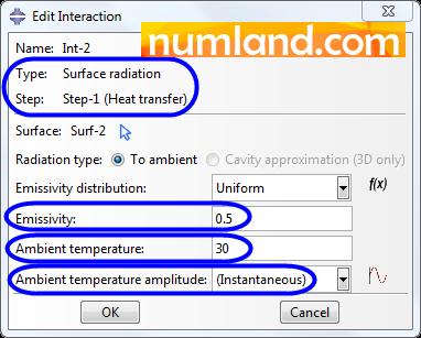 تنظیمات پنجره Edit Interaction برای انتقال حرارت تشعشعی