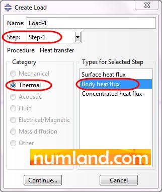نحوه تعریف تولید حرارت داخلی در پنجره Create Load