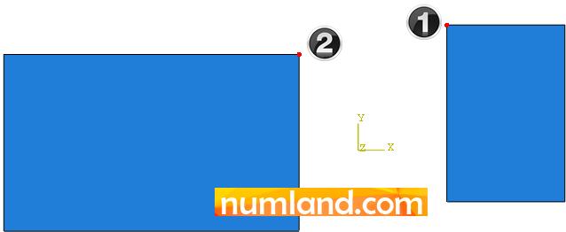 نقاط موردنظر برای تعریف بردار جابجایی قطعه سمت راست