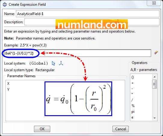 وارد کردن رابطه تولید حرارت داخلی در پنجره Create Expression Field