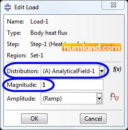 اعمال رابطه تولید حرارت داخلی در پنجره Edit Load