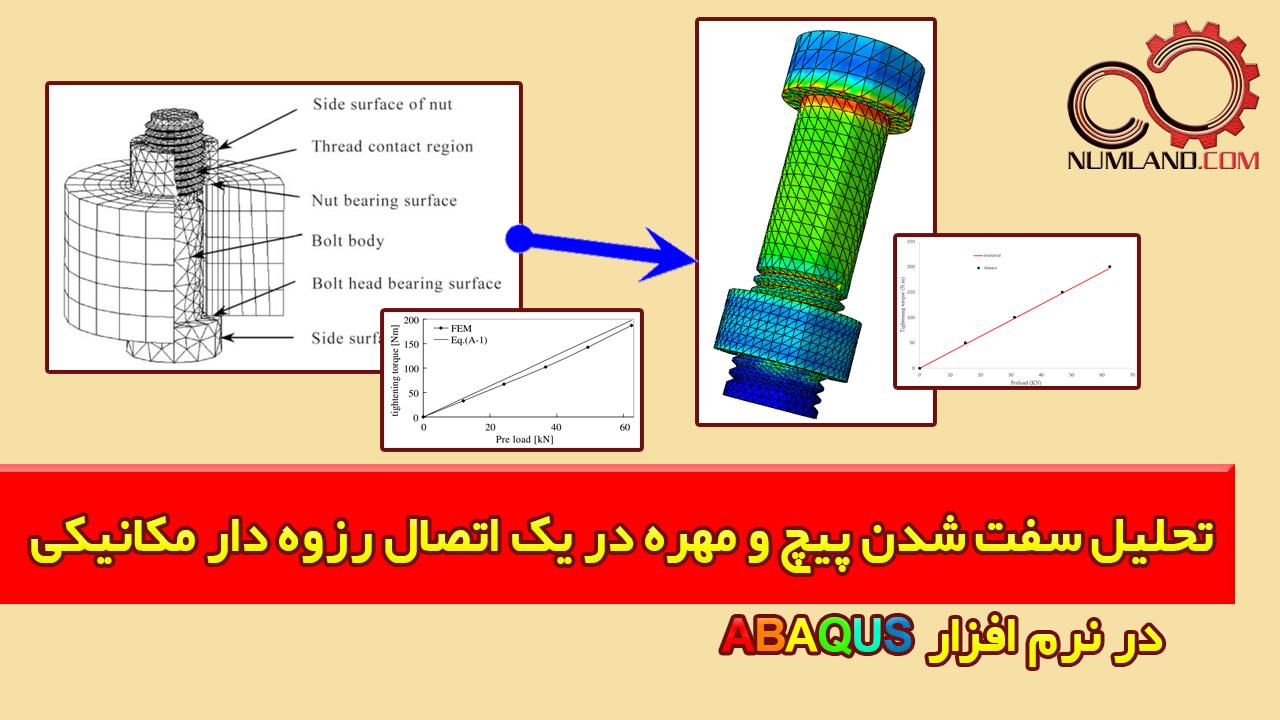 تحلیل سفت شدن پیچ و مهره در در Abaqus